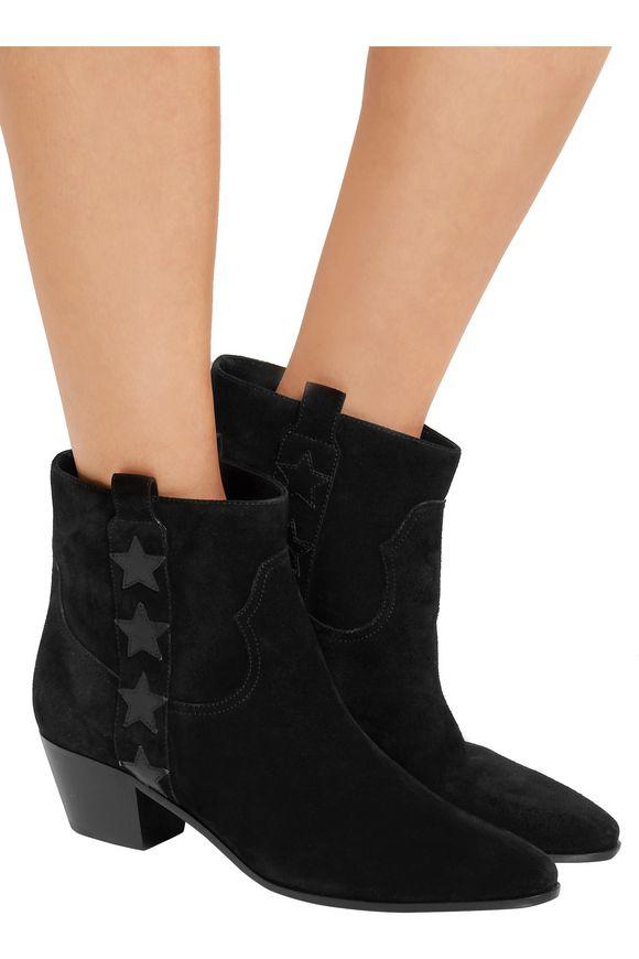 Star-appliquéd suede ankle boots   SAINT LAURENT   Sale up to 70% off   THE  OUTNET