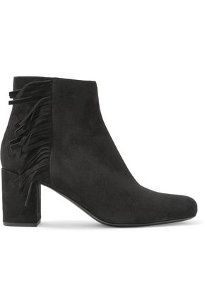 SAINT LAURENT Blake fringed suede ankle boots