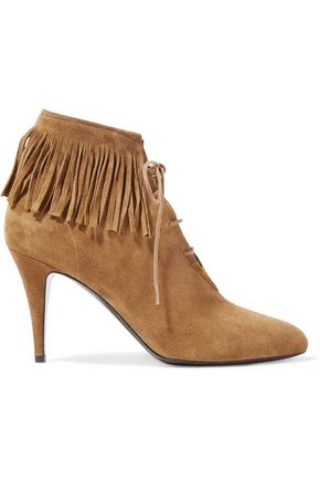 SAINT LAURENT Lace-up fringed suede ankle boots