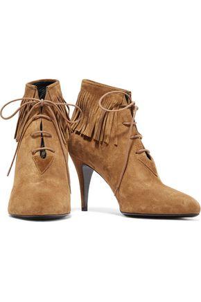 SAINT LAURENT Lace-up fringed suede ankle boots