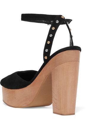 MAJE Flash studded suede platform sandals