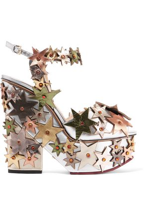 CHARLOTTE OLYMPIA Supernova appliquéd leather sandals