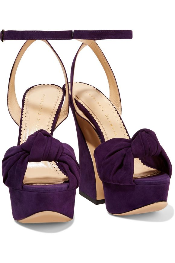 Vreeland knotted suede platform sandals | CHARLOTTE OLYMPIA | Sale up to 70%  off | THE OUTNET