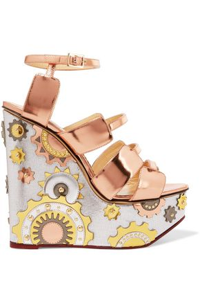CHARLOTTE OLYMPIA Metallic leather wedge sandals