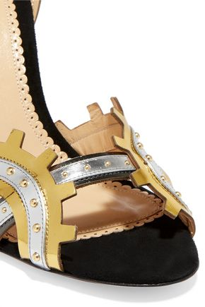 CHARLOTTE OLYMPIA High Gear studded metallic leather sandals