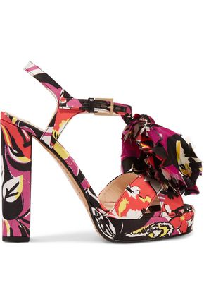 ETRO Printed satin appliquéd sandals