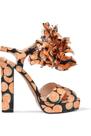 ETRO Printed satin appliquéd sandals