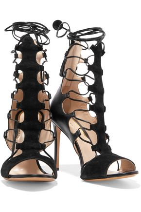 ETRO Lace-up leather and suede sandals