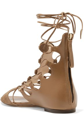 ETRO Leather and suede lace-up sandals