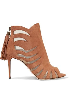 PAUL ANDREW Mesh-paneled suede sandals