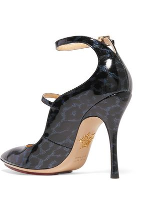 CHARLOTTE OLYMPIA Lyra leopard-print glossed leather sandals