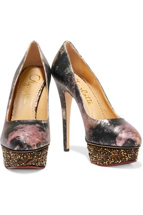 CHARLOTTE OLYMPIA Dolly metallic printed leather pumps