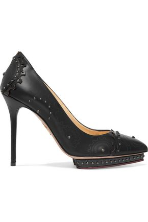 CHARLOTTE OLYMPIA Mechanical Debbie studded leather pumps ...