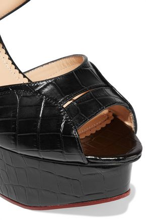 CHARLOTTE OLYMPIA Marcella croc-effect leather wedge sandals