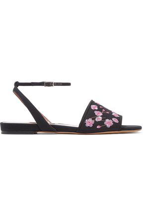 TABITHA SIMMONS Petal Blossom embroidred canvas sandals