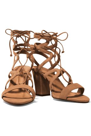 SCHUTZ Iggy lace-up cutout suede sandals