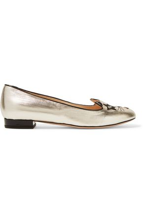 CHARLOTTE OLYMPIA Kiss Kitty metallic embroidered coated-leather ballet flats