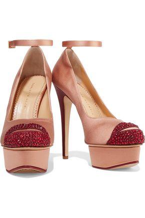 CHARLOTTE OLYMPIA Kiss Me Dolores crystal-embellished satin platform pumps
