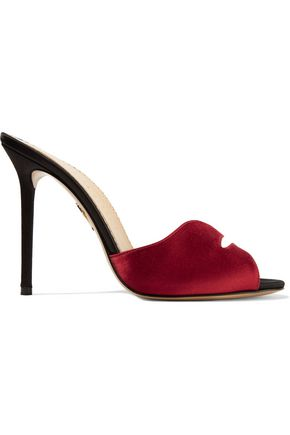 CHARLOTTE OLYMPIA Kiss My Feet two-tone cutout satin mules