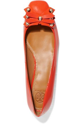 TORY BURCH Aurora embellished patent leather ballet flats