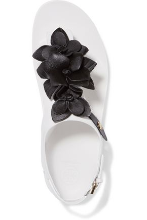 TORY BURCH Blossom two-tone embellished leather sandals