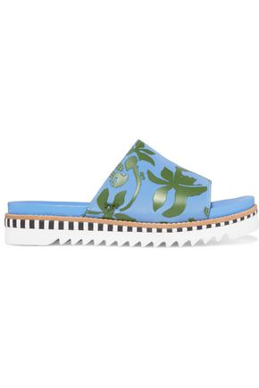 TORY BURCH Sawtooth printed neoprene slides