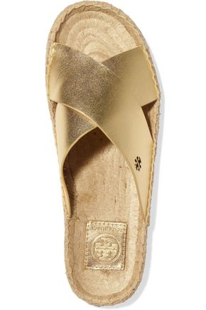 TORY BURCH Bima metallic leather slides