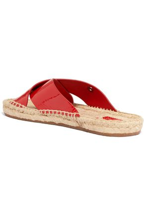 TORY BURCH Bima patent-leather espadrille slides