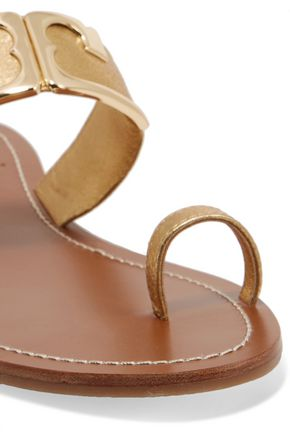 ae1d145711dc ... TORY BURCH Marcia metallic leather sandals ...