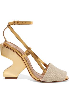 TORY BURCH Curio metallic leather and canvas sandals