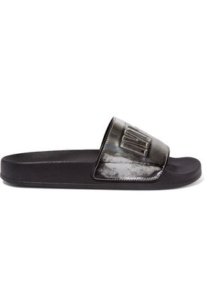 McQ Alexander McQueen Patent and textured-leather slides