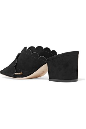 ISA TAPIA Calista scalloped suede mules