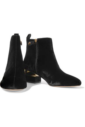 ISA TAPIA Hardy embellished velvet ankle boots
