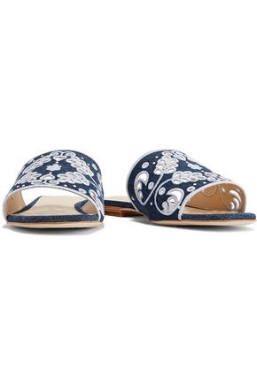 ISA TAPIA Nerine cutout embroidered denim sandals