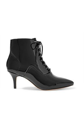 ISA TAPIA Rheac lace-up patent-leather ankle boots