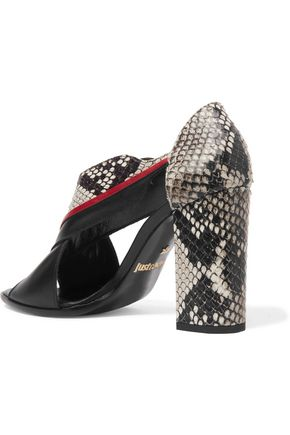 JUST CAVALLI Snake-effect leather sandals