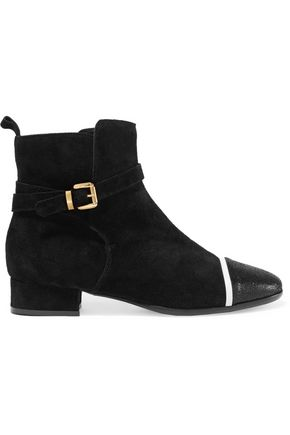 JUST CAVALLI Textured leather-trimmed suede ankle boots