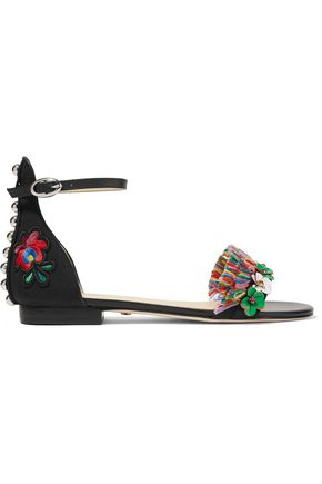 ISA TAPIA Samuel leather-trimmed embellished faille sandals