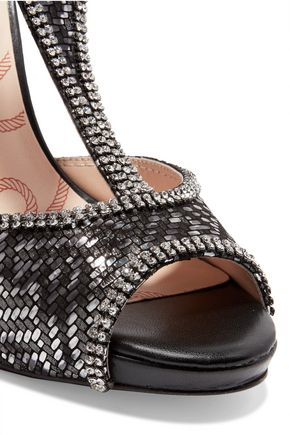 LUCY CHOI Titania crystal-embellished jacquard and suede T-bar sandals