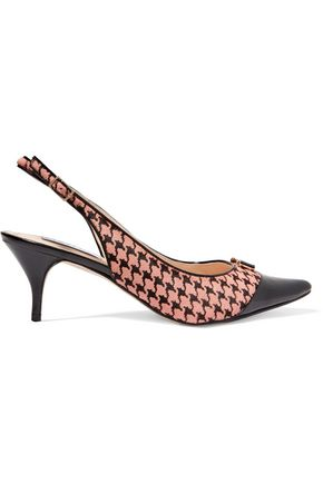 LUCY CHOI London Yorick patent leather-trimmed houndstooth-printed calf hair slingback pumps