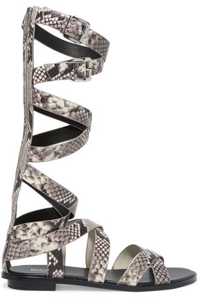 MICHAEL MICHAEL KORS Darby snake-effect leather gladiator sandals