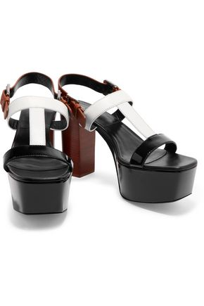 MICHAEL KORS COLLECTION Denise smooth and patent-leather platform sandals