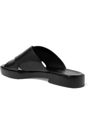 MICHAEL KORS COLLECTION Sage glossed-leather slides