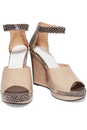 MAISON MARGIELA Snake-effect and glossed-leather wedge sandals