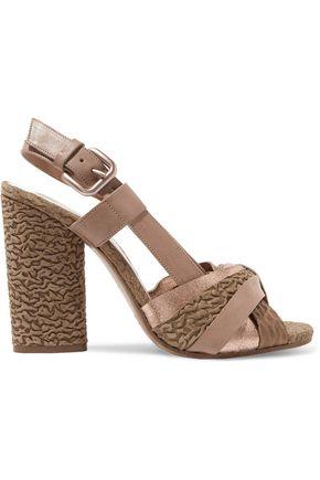 MAISON MARGIELA Metallic-paneled cloqué leather sandals