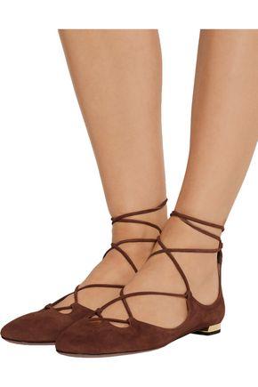 AQUAZZURA Dancer lace-up suede ballet flats
