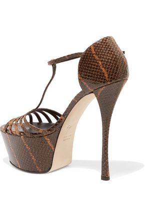 GIUSEPPE ZANOTTI Snake-effect leather platform sandals
