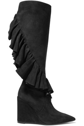J.W.ANDERSON Ruffle-trimmed suede wedge knee boots