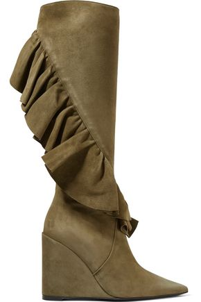 J.W.ANDERSON Ruffled suede wedge knee boots