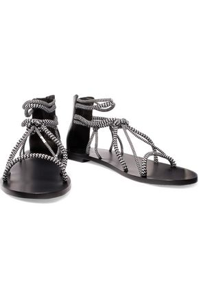 IRO Two-tone woven and leather sandals